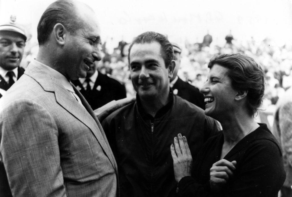 Maria Teresa de Filippis with Juan Manuel Fangio and Jean Behra Monaco GP 1959