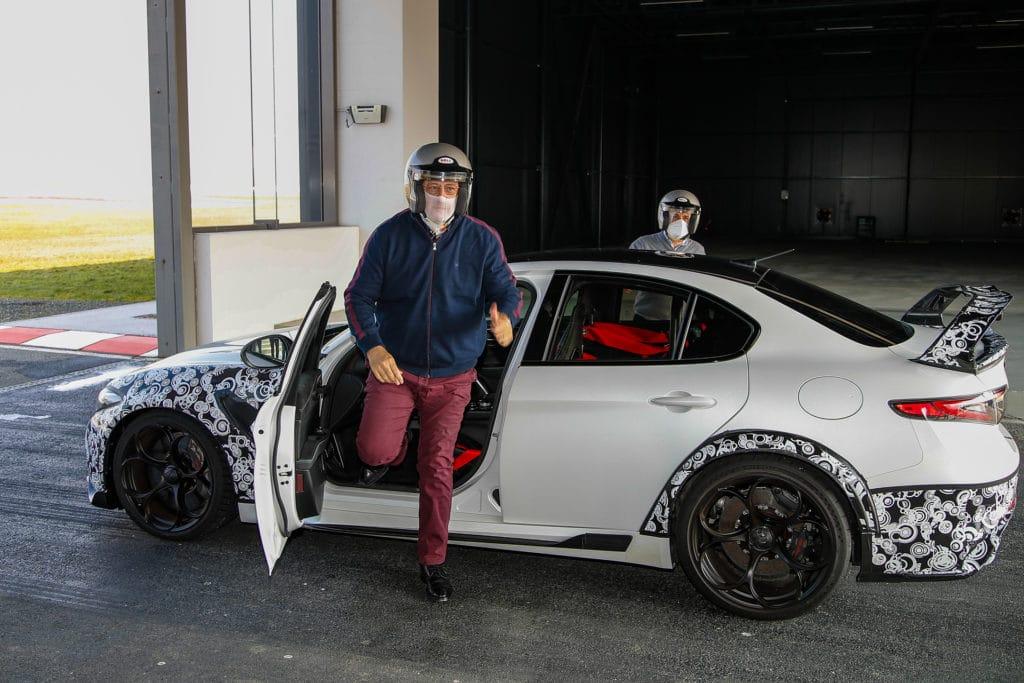 Jean-Philippe Imparato, nouveau patron d'Alfa Romeo, au volant de la Giulia GTA à Balocco